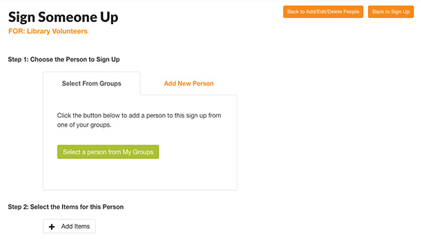 features manage add people to sign up