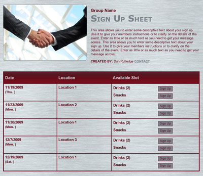 Business meeting or interview online registraiton sign up