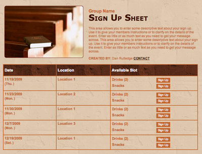 Church usher bible study sign up form