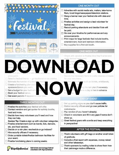 festival planning checklist downloadable printable ideas tips timeline