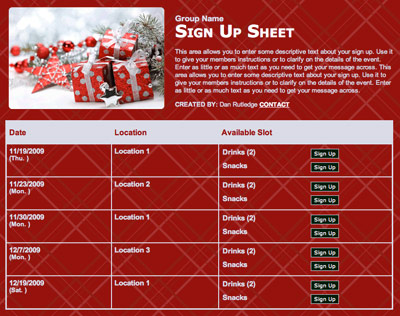 Holiday Christmas class party volunteer sign up form