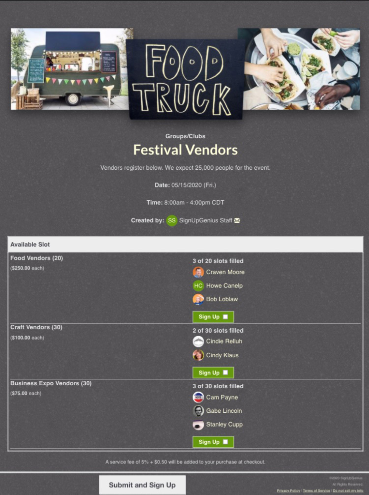 foodtruck sign up