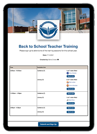 back to school teacher training sign up on ipad