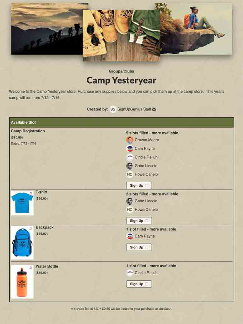Sell Camp Gear and Merchandise