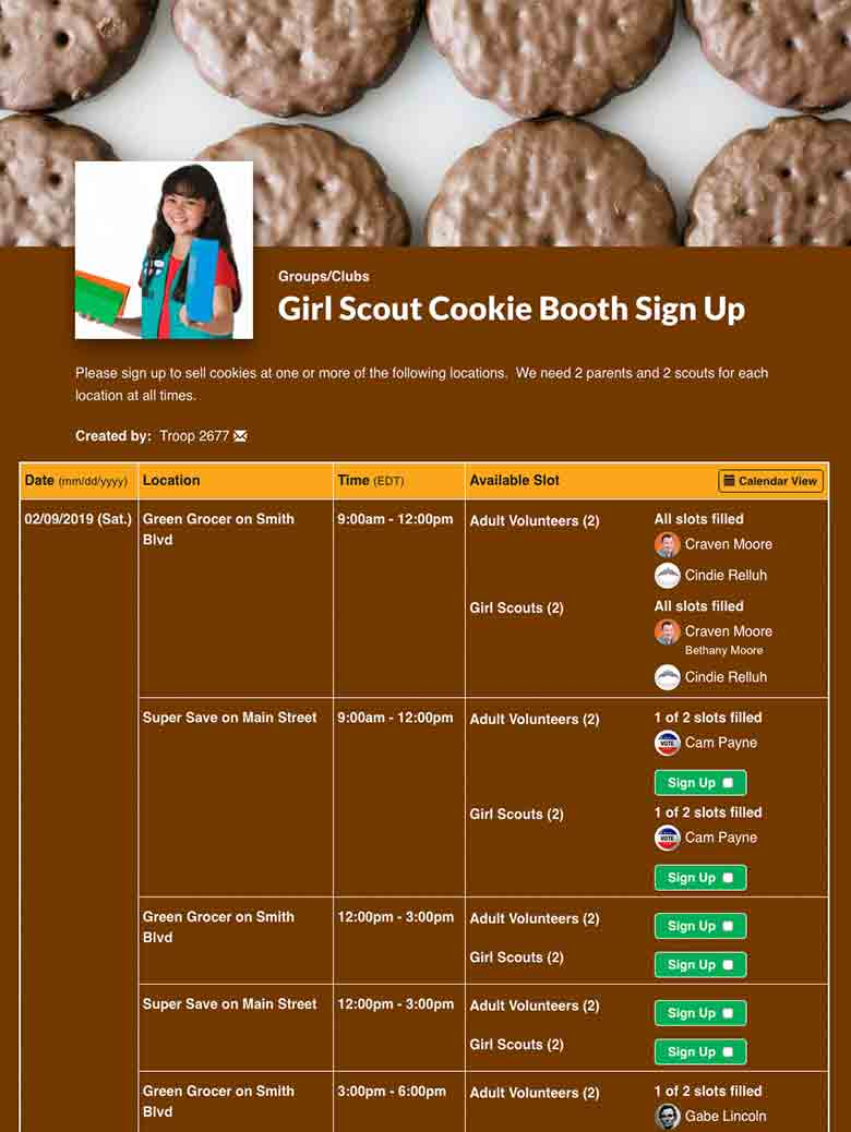 Coordinate Girl Scout Cookie Booths