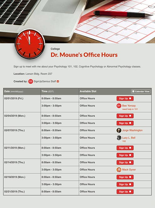 Schedule Office Hours