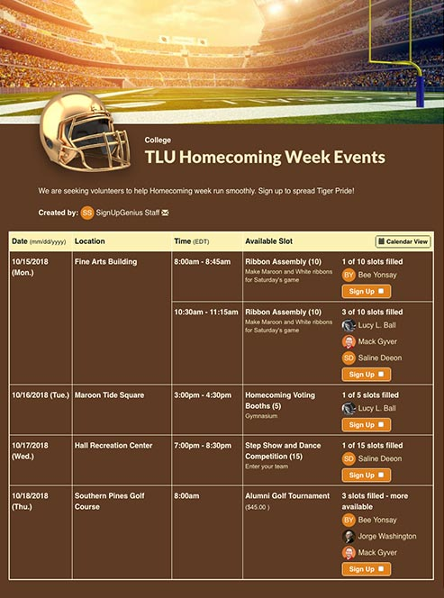 Schedule Homecoming Activities