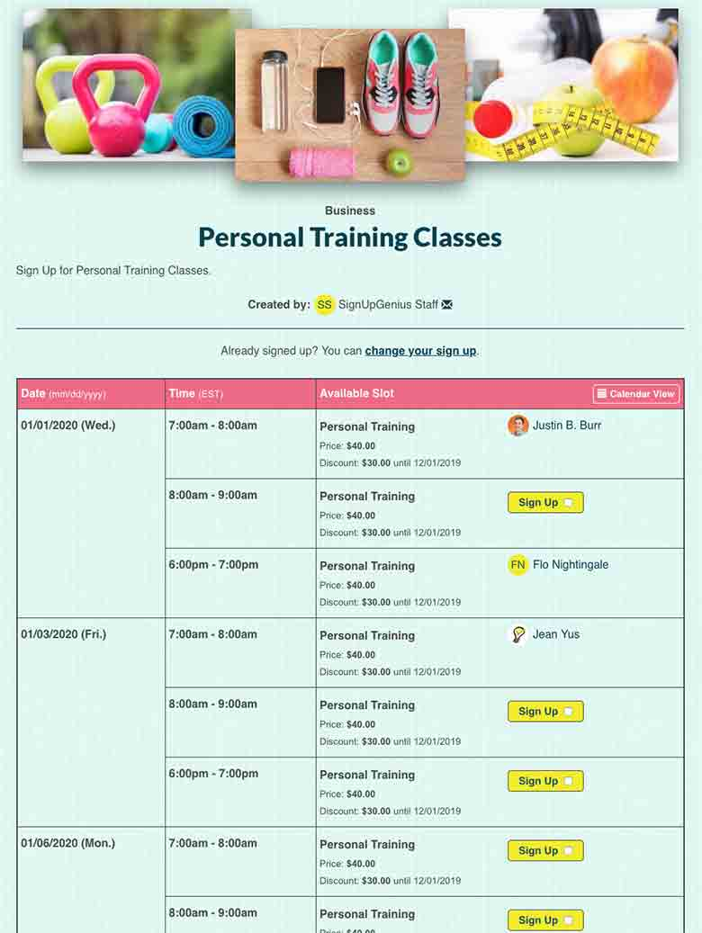 Coordinate Personal Training Sessions