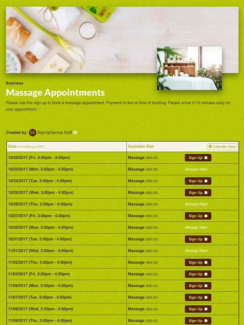 Schedule Massage Appointments