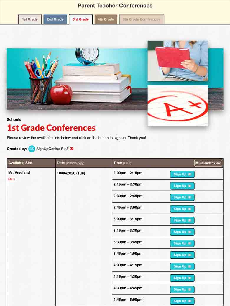 Group Conferences by Grade