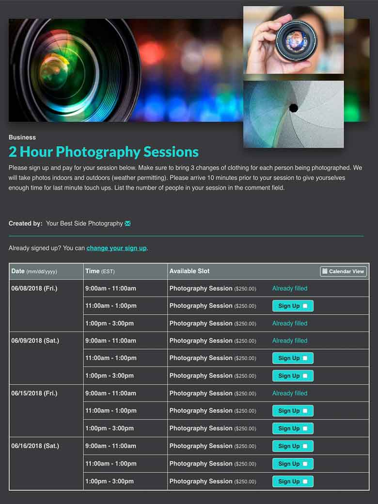 Schedule Photography Appointments