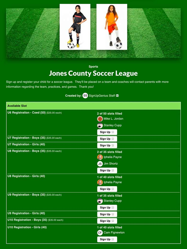 Register Soccer League Participants