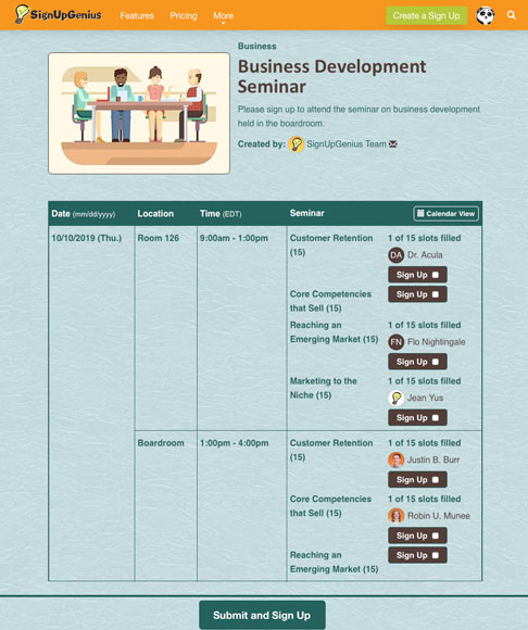 business development seminar sign up