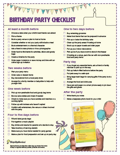 Birthday Party Checklist