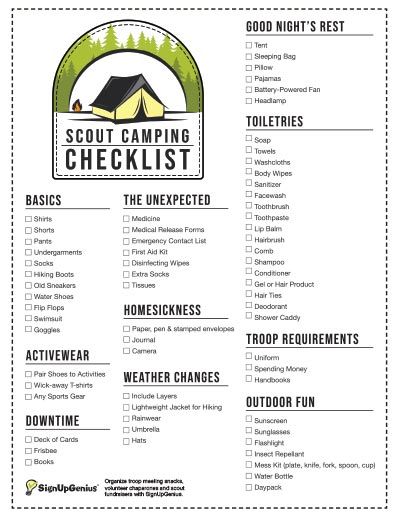 Scouts Camping Checklist