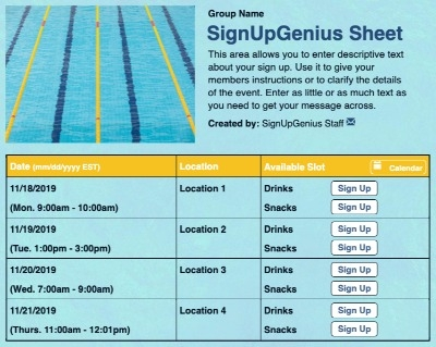 sign up sheet